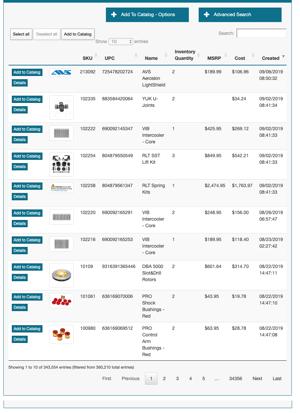 Spark Shipping Vendor Product Catalog