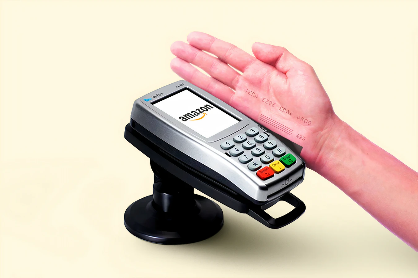 man swiping his hand on a credit card reader